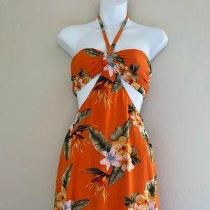 Forever 21 Tropical Halter Maxi Dress Orange